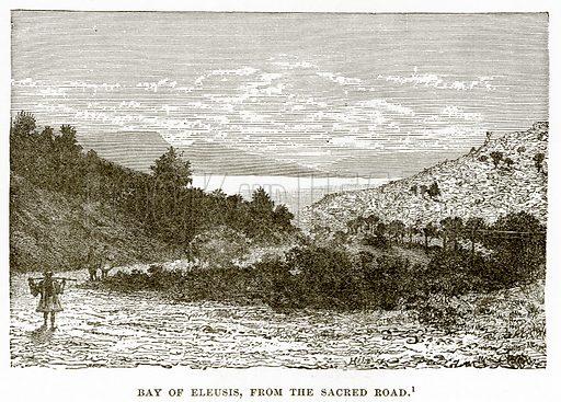 Bay of Eleusis, from the Sacred Road. Illustration from History of Greece by Victor Duruy (Boston, 1890).