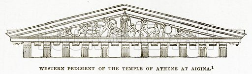 Western Pediment of the Temple of Athene at Aigina. Illustration from History of Greece by Victor Duruy (Boston, 1890).