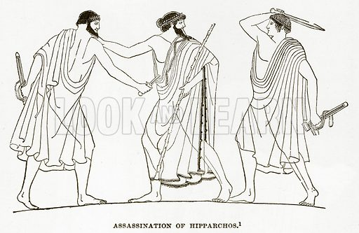 Assassination of Hipparchos. Illustration from History of Greece by Victor Duruy (Boston, 1890).