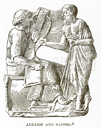 Alkaios and Sappho. Illustration from History of Greece by Victor Duruy (Boston, 1890).