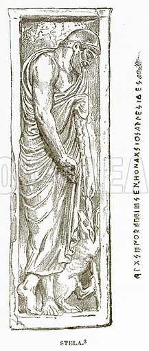 Stela. Illustration from History of Greece by Victor Duruy (Boston, 1890).