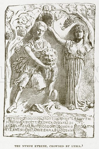 The Nymph Kyrene, crowned by Lybia. Illustration from History of Greece by Victor Duruy (Boston, 1890).