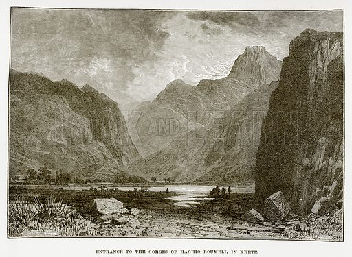 Entrance to the Gorges of Haghio – Roumeli, in Krete. Illustration from History of Greece by Victor Duruy (Boston, 1890).