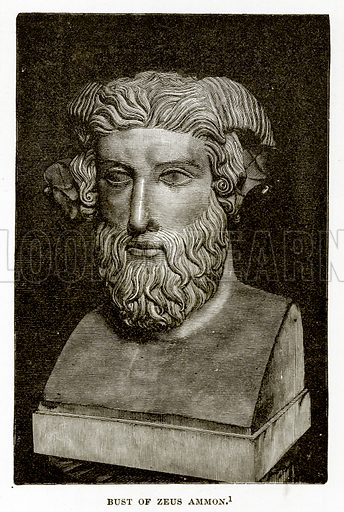 Bust of Zeus Ammon. Illustration from History of Greece by Victor Duruy (Boston, 1890).