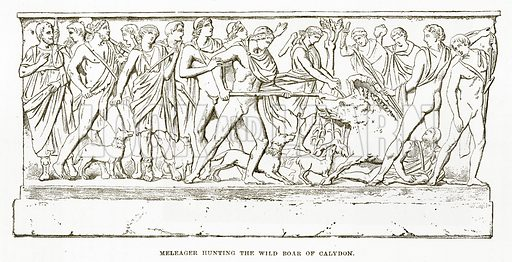 Meleager Hunting the Wild Boar of Calydon. Illustration from History of Greece by Victor Duruy (Boston, 1890).