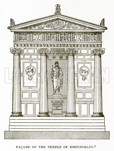 Facade of the Temple of Empedokles. Illustration from History of Greece by Victor Duruy (Boston, 1890).