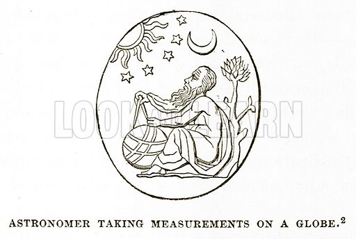 Astronomer taking Measurements on a Globe. Illustration from History of Greece by Victor Duruy (Boston, 1890).