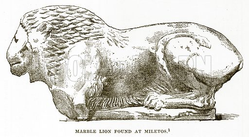 Marble Lion found at Miletos. Illustration from History of Greece by Victor Duruy (Boston, 1890).
