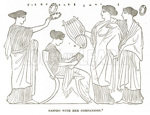 Sappho with her Companions. Illustration from History of Greece by Victor Duruy (Boston, 1890).