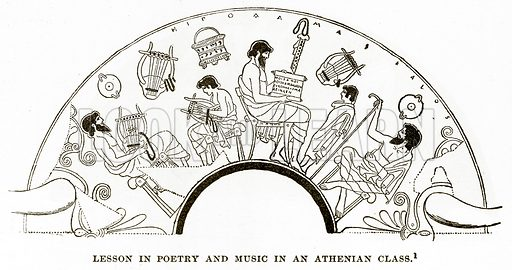 Lesson in Poetry and Music in an Athenian Class. Illustration from History of Greece by Victor Duruy (Boston, 1890).