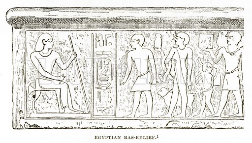 Egyptian Bas-Relief. Illustration from History of Greece by Victor Duruy (Boston, 1890).