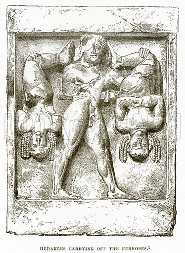 Herakles carrying off the Kerkopes. Illustration from History of Greece by Victor Duruy (Boston, 1890).