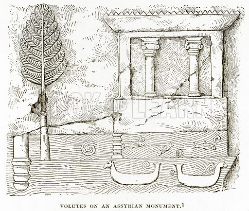 Volutes on an Assyrian Monument. Illustration from History of Greece by Victor Duruy (Boston, 1890).