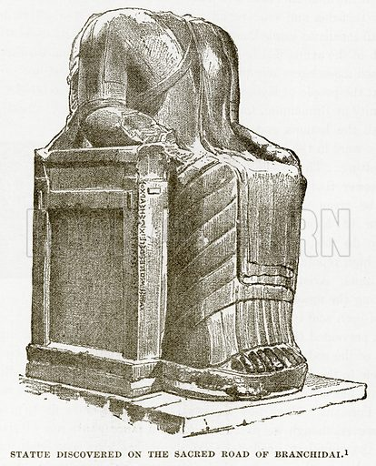 Statue discovered on the Sacred Road of Branchidai. Illustration from History of Greece by Victor Duruy (Boston, 1890).