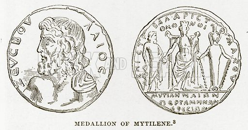 Medallion of Mytilene. Illustration from History of Greece by Victor Duruy (Boston, 1890).