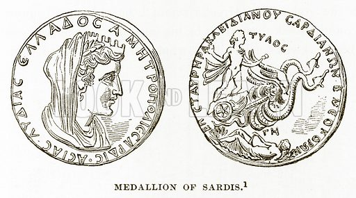 Medallion of Sardis. Illustration from History of Greece by Victor Duruy (Boston, 1890).