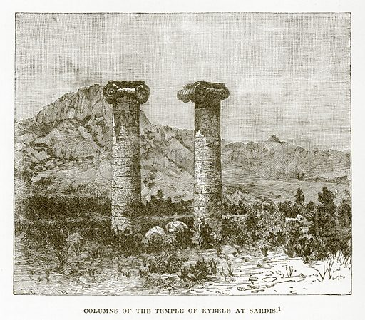 Columns of the Temple of Kybele at Sardis. Illustration from History of Greece by Victor Duruy (Boston, 1890).