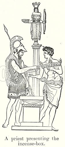 A Priest presenting the Incense-Box. Illustration from History of Rome by Victor Duruy (Kegan Paul, Trench & Co, 1884).