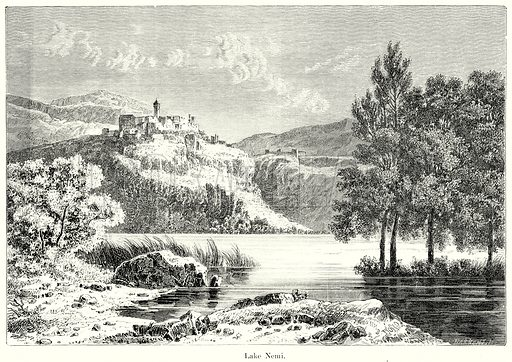 Lake Nemi. Illustration from History of Rome by Victor Duruy (Kegan Paul, Trench & Co, 1884).