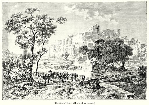 The City of Veii. (Restored by Canina.) Illustration from History of Rome by Victor Duruy (Kegan Paul, Trench & Co, 1884).