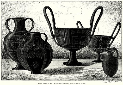 Vases found at Veii (Campana Museum, Room of Black Vases). Illustration from History of Rome by Victor Duruy (Kegan Paul, Trench & Co, 1884).