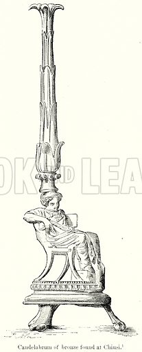 Candelabrum of Bronze found at Chiusi. Illustration from History of Rome by Victor Duruy (Kegan Paul, Trench & Co, 1884).