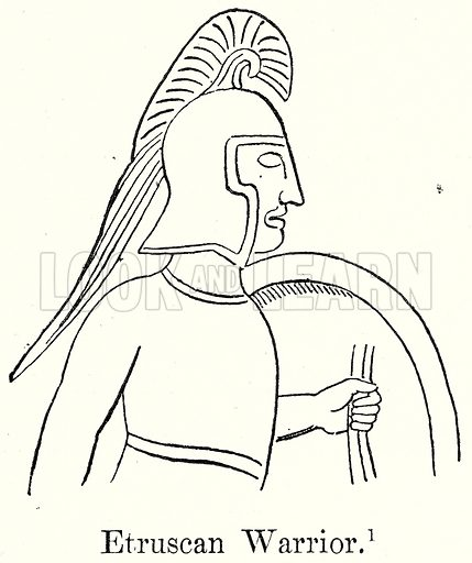 Etruscan Warrior. Illustration from History of Rome by Victor Duruy (Kegan Paul, Trench & Co, 1884).