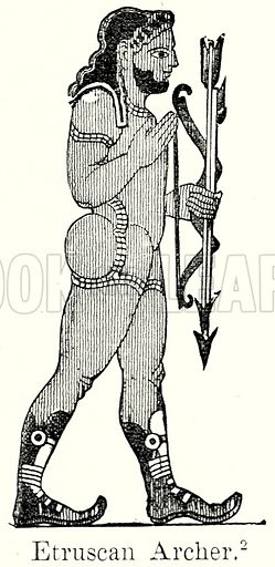 Etruscan Archer. Illustration from History of Rome by Victor Duruy (Kegan Paul, Trench & Co, 1884).
