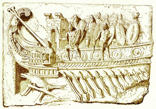 Roman Galley. Illustration from History of Rome by Victor Duruy (Kegan Paul, Trench & Co, 1884).