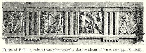 Frieze of Selinus, taken from Photographs, dating about 460 B.C. Illustration from History of Rome by Victor Duruy (Kegan Paul, Trench & Co, 1884).