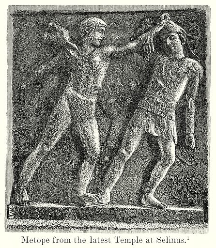Metope from the latest Temple at Selinus. Illustration from History of Rome by Victor Duruy (Kegan Paul, Trench & Co, 1884).