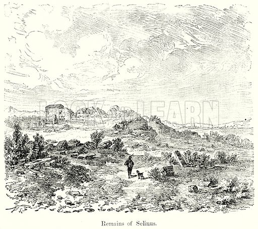 Remains of Selinus. Illustration from History of Rome by Victor Duruy (Kegan Paul, Trench & Co, 1884).