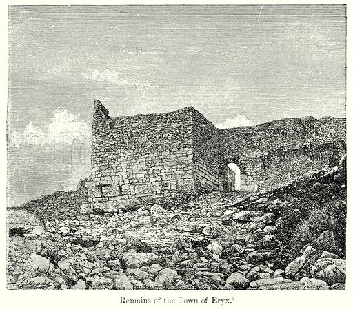 Remains of the Town of Eryx. Illustration from History of Rome by Victor Duruy (Kegan Paul, Trench & Co, 1884).