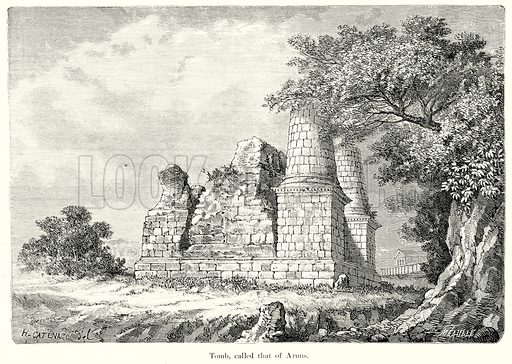 Tomb, called that of Aruns. Illustration from History of Rome by Victor Duruy (Kegan Paul, Trench & Co, 1884).