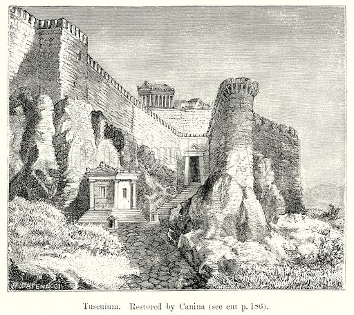 Tusculum. Illustration from History of Rome by Victor Duruy (Kegan Paul, Trench & Co, 1884).
