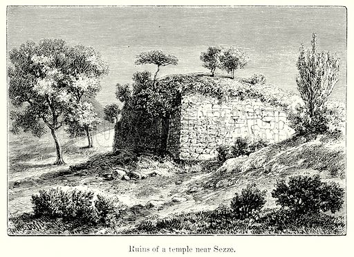 Ruins of a Temple near Sezze. Illustration from History of Rome by Victor Duruy (Kegan Paul, Trench & Co, 1884).