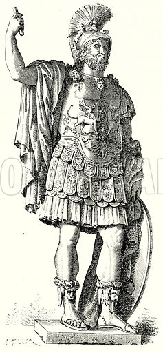 Pyrrhus. Illustration from History of Rome by Victor Duruy (Kegan Paul, Trench & Co, 1884).