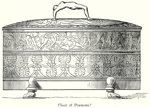 Chest of Praeneste. Illustration from History of Rome by Victor Duruy (Kegan Paul, Trench & Co, 1884).