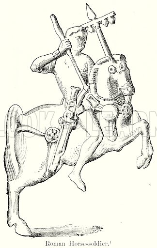 Roman Horse-Soldier. Illustration from History of Rome by Victor Duruy (Kegan Paul, Trench & Co, 1884).
