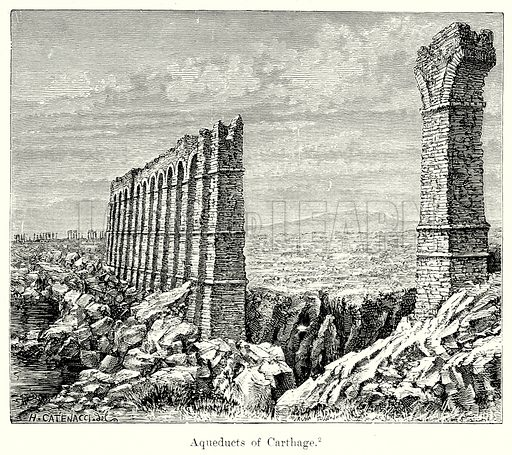 Aqueducts of Carthage. Illustration from History of Rome by Victor Duruy (Kegan Paul, Trench & Co, 1884).