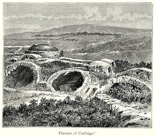 Cisterns of Carthage. Illustration from History of Rome by Victor Duruy (Kegan Paul, Trench & Co, 1884).