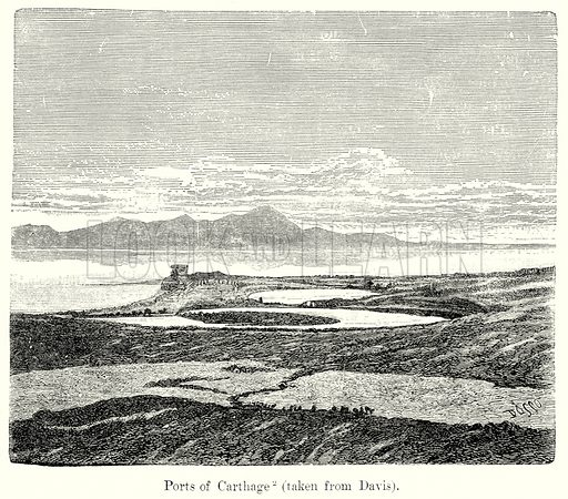 Ports of Carthage. Illustration from History of Rome by Victor Duruy (Kegan Paul, Trench & Co, 1884).