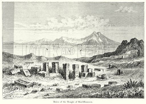 Ruins of the Temple of Baal-Hammon. Illustration from History of Rome by Victor Duruy (Kegan Paul, Trench & Co, 1884).