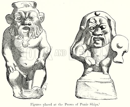 Figures placed at the Prows of Punic Ships. Illustration from History of Rome by Victor Duruy (Kegan Paul, Trench & Co, 1884).