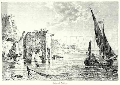 Ruins of Antium. Illustration from History of Rome by Victor Duruy (Kegan Paul, Trench & Co, 1884).