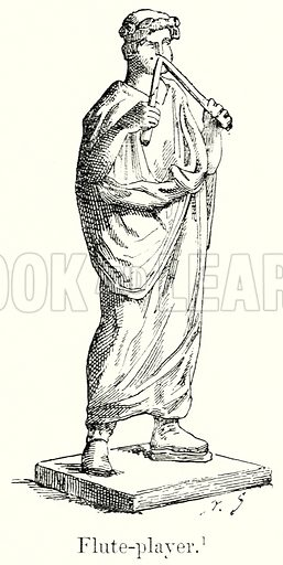 Flute-Player. Illustration from History of Rome by Victor Duruy (Kegan Paul, Trench & Co, 1884).