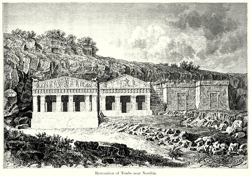 Restoration of Tombs near Norchia. Illustration from History of Rome by Victor Duruy (Kegan Paul, Trench & Co, 1884).