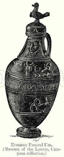 Etruscan Funeral Urn. Illustration from History of Rome by Victor Duruy (Kegan Paul, Trench & Co, 1884).