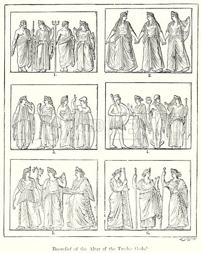 Bas-Relief of the Altar of the Twelve Gods. Illustration from History of Rome by Victor Duruy (Kegan Paul, Trench & Co, 1884).