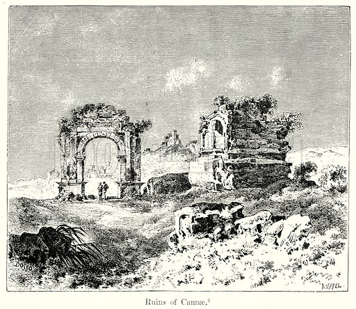 Ruins of Cannae. Illustration from History of Rome by Victor Duruy (Kegan Paul, Trench & Co, 1884).